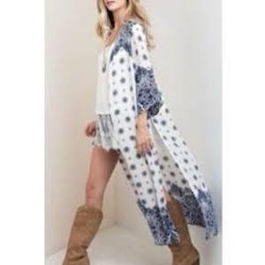 Kori America Long Split Side Rayon Kimono